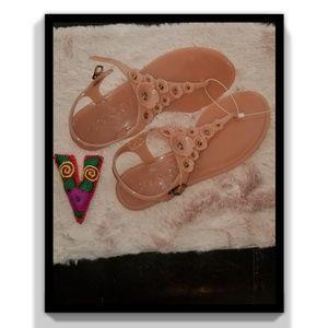 Coach Pink Tea Rose Multi Jelly Sandal
